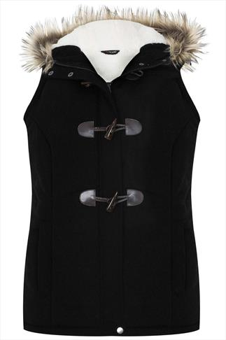 Black Quilted Gilet With Fur Trim Hood