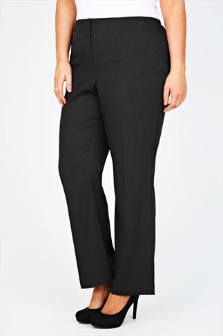 Dark Grey Marl Crepe Wide Classic Fit Trouser