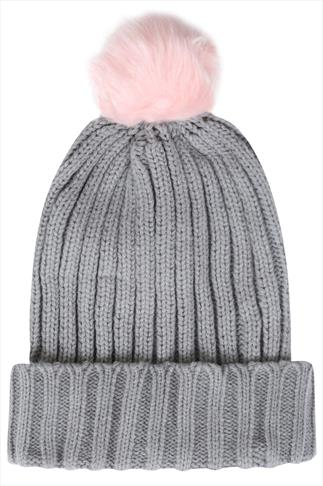 Grey Knitted Beanie Hat With Pink Faux Fur Bobble