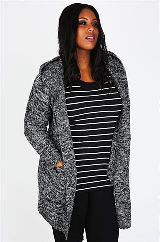 Grey & Black Mix Knit Coatigan With Hood