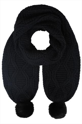 Black Knitted Scarf With Faux Fur Pom Poms