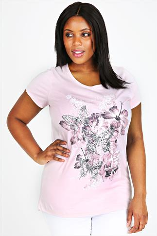 Nude Pink Short Sleeve T-Shirt With Butterfly Print
