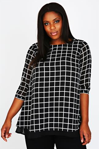 Black & White Check Print Double Layer Blouse