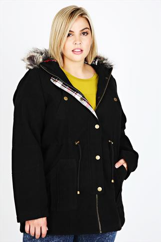 Black Velour Parka Coat With Fur Hood
