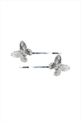 Silver Butterfly Hair Grips