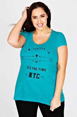Jade Short Sleeve T-Shirt With 'Forever In Love' Placement Print