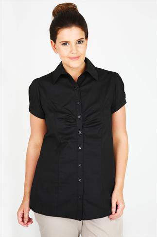 Black Plain Cotton Work Shirt With Ruching Detail