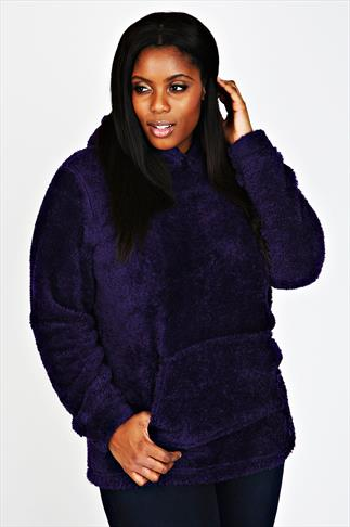 Purple Plain Fluffy Hooded Fleece