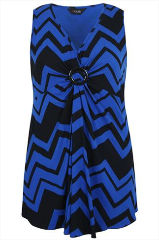 Cobalt and Black Chevron Print Sleeveless Top With Ring Detail