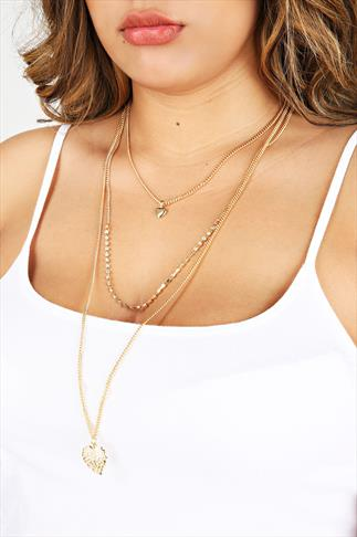Gold Layered Heart And Feather Pendant Necklace