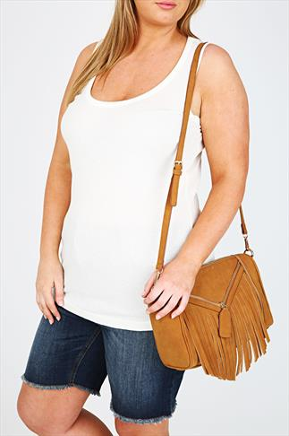 Tan Suede Look Fringe And Zip Bag