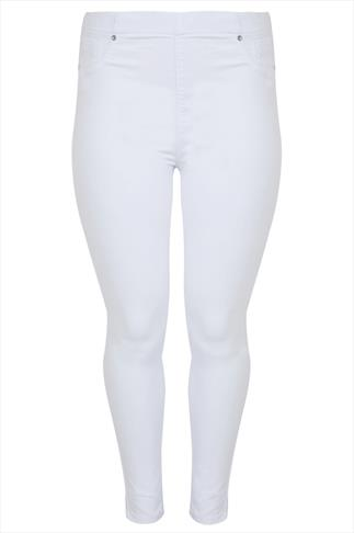 White Denim Jeggings With Silver Stud Detail