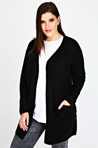 Black Longline Knitted Edge To Edge Cardigan