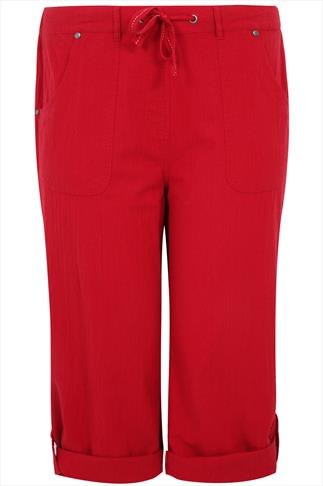 Red Cool Cotton Roll-Up Crop Trousers With Stud Detail