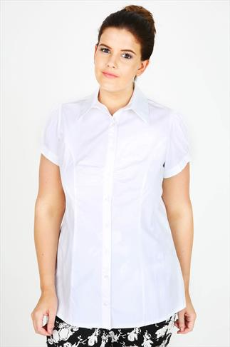 White Plain Cotton Work Shirt With Ruching Detail