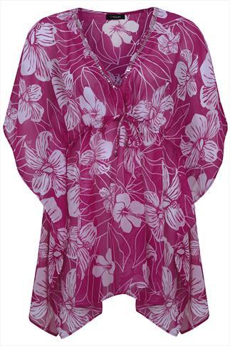 Purple Hibiscus Short Sleeve Kaftan With Silver Sequins