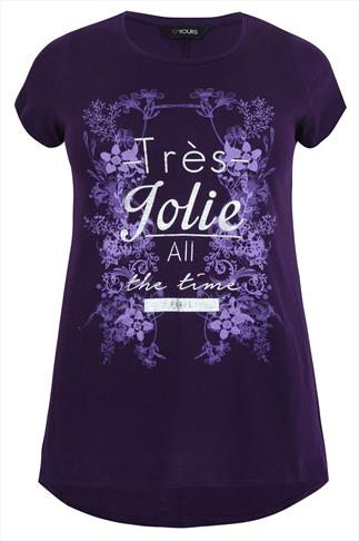 Purple Short Sleeved T-Shirt With Silver 'Très Jolie' & Floral Print