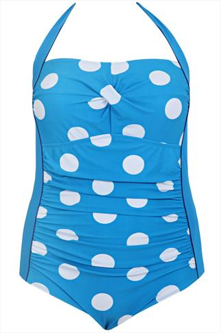 Blue Polka Dot Halter Swimsuit With TUMMY SUPPORT