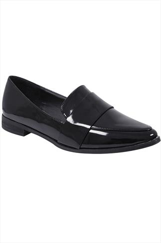 Black Patent Pointed Toe Loafers In E Fit