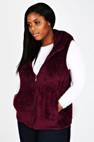 Plumb Sleeveless Fluffy Hooded Fleece With Zip