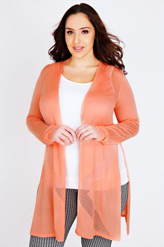 Coral Longline Cardigan With Pointelle Detail