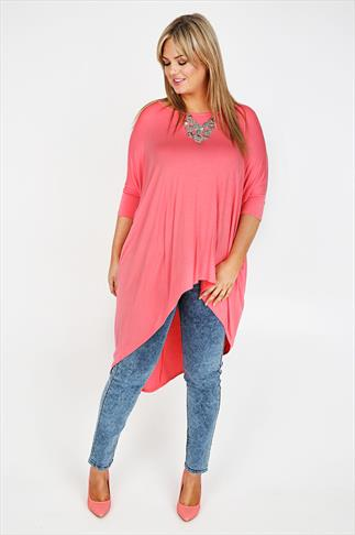 Coral Pink Oversized Top With Extreme Dipped Hem