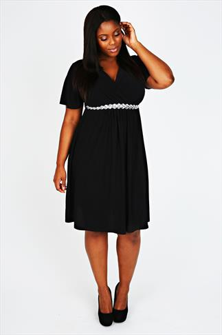 Black Wrap Front Dress With Waist Embellishment