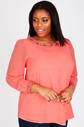Coral Long Sleeve Swing Blouse With Embellished Neck & Cut Out Back