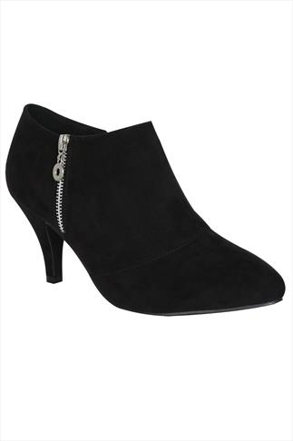 Black Suedette Zip Up Shoe Boots In EEE Fit