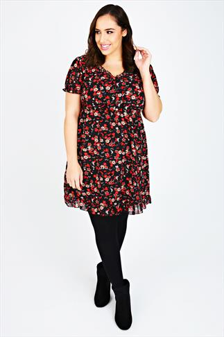 Black & Red Floral Print Frill Hem Dress