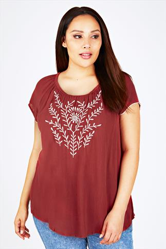 Burgundy Embroidered Gypsy Top With Crochet Trim