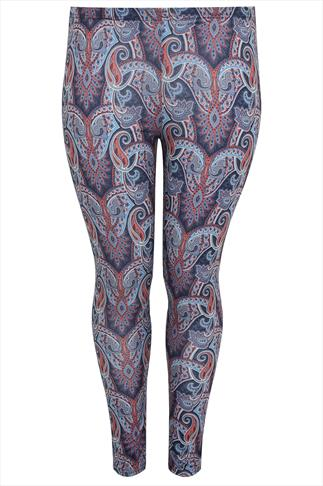 Blue & Orange Paisley Print Leggings
