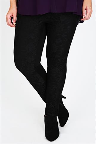 Black Lace Front Leggings