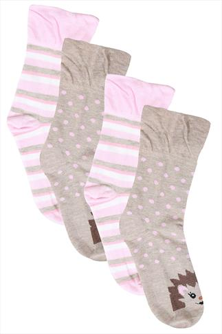 Pink & Beige Hedgehog Print Socks In Extra Wide Fit 2 Pair Pack