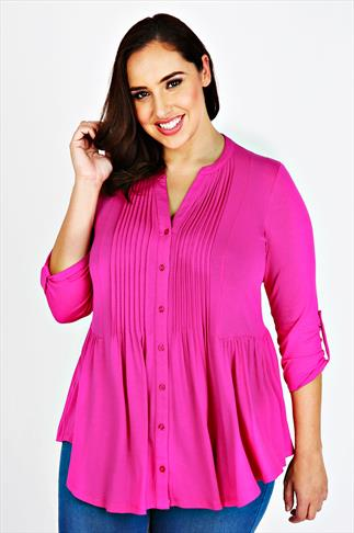 Magenta Jersey Blouse With Pintuck Detail