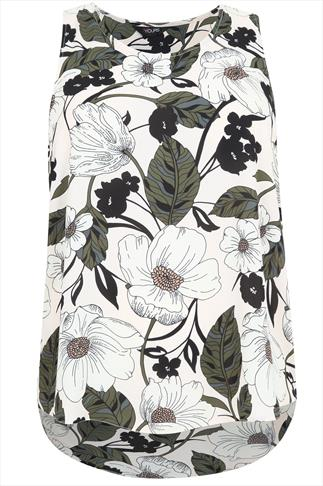 Nude Sleeveless Top With All Over Floral Print