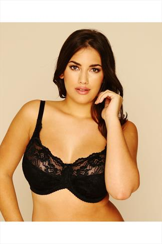 Black Stretch Lace Non Padded Underwired Bra