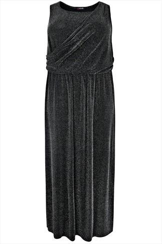 Silver & Black Metallic Sparkle Thread Wrap Front Maxi Dress