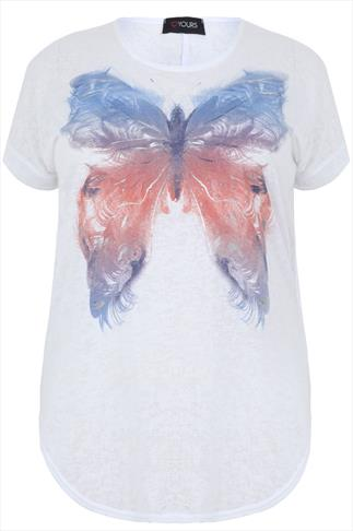 White Short Sleeve Burnout T-Shirt With Butterfly Print