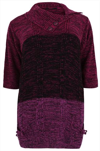 Magenta Tonal Block Stripe Knitted Tunic With 3/4 Length Sleeves