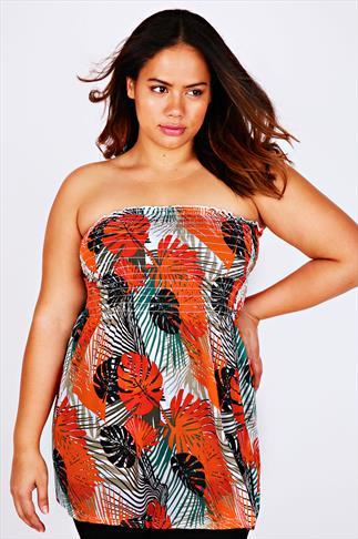 Orange & Multi Palm Print Strapless Top