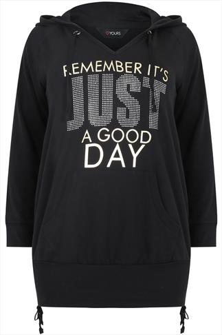 """Black Foil """"Remember Its Just A Good Day"""" Pull Over Hoodie"""