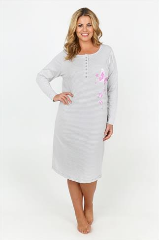 Grey And White Stripped Butterfly Print Long Sleeve Nightdress