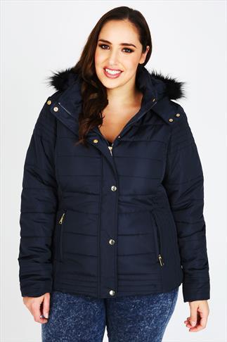 Navy Puffa Coat With Fur Trim Hood