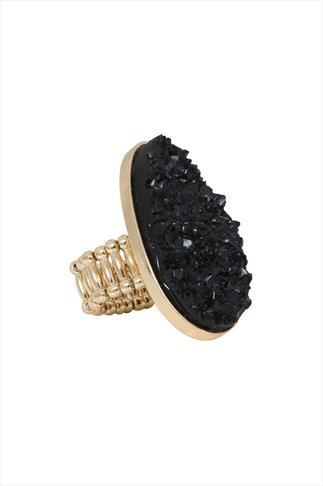 Large Raw Black Stone Cocktail Ring