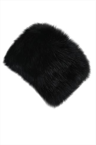 Black Faux Fur Cossack Hat