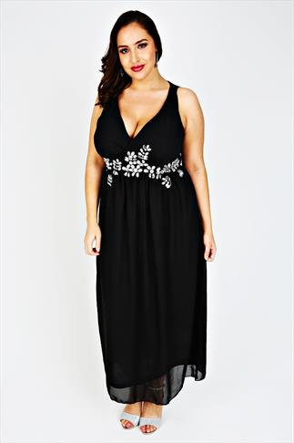 Black Cross Over Maxi Dress With Embellished Waist