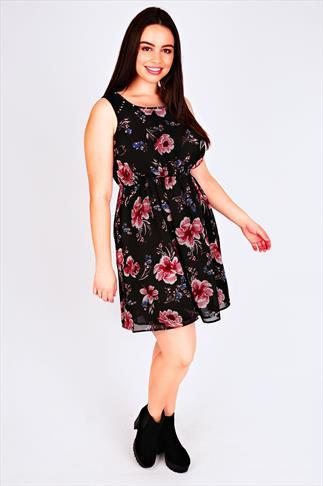 Black Floral Print Sleeveless Skater Dress