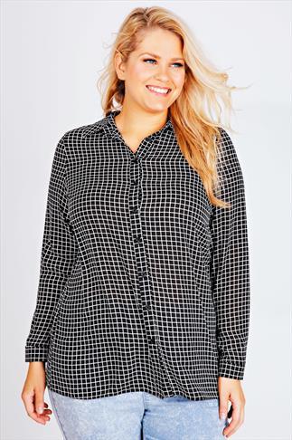 Black And White Grid Check Chiffon Shirt