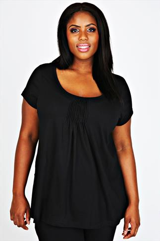 Black Pyjama Top With Pleated Front